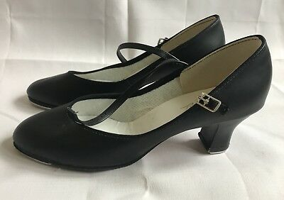 Womens 10 M Theatricals Heeled Buckle Black Leather Dance Tap Shoes Capezio Taps