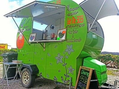AMAZING! ROUND GREENCATERING TRAILER !!! street food MOBILE CHURROS !!!!!!!!