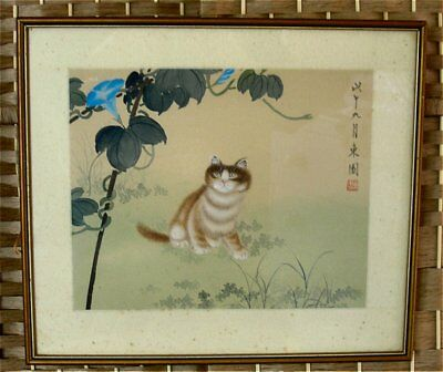 Antique Circa 1900 Chinese Watercolour on Silk of Cat and Flowers Red Seal Sign