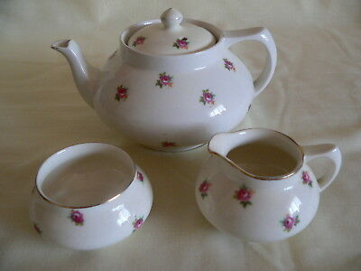 Vintage Crown Ducal Ware small teapot set-3 pieces rosebud/ditsy rose pattern