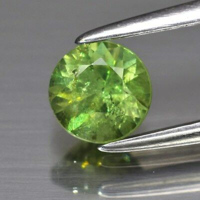 0.61ct 5mm Round Brilliant Natural Medium Yellowish Green Demantoid Garnet