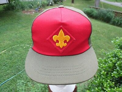 VINTAGE BOY SCOUTS OF AMERICA Olive GREEN RED  SNAP BACK BASEBALL CAP Hat S/M