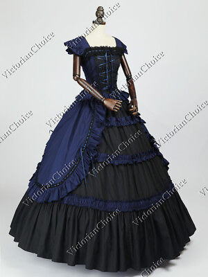 Victorian Gothic Dress Steampunk Cosplay Witch Ghost Halloween Costume N 085