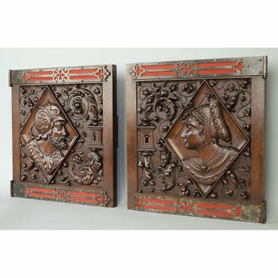Fine Pair of Antique Carved Walnut French Renaissance / Gothic style Door Panels