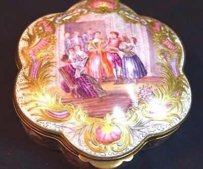 Antique French or German Hand Painted Porcelain Brass Mounted Box