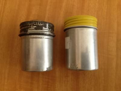 Pair of metal film canisters with reloadable film cassette. 35mm. Ilford.