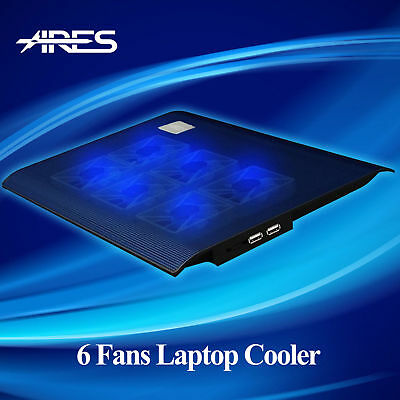 "N2 Ultra-Slim Notebook Cooling Pad Cooler 6 Fans With Blue Led F 15.4""Laptop"