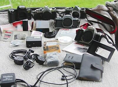 Lot of 5 Pentax ME MX K1000 PZ 70 ZX10 cameras and Accessories, and More!!