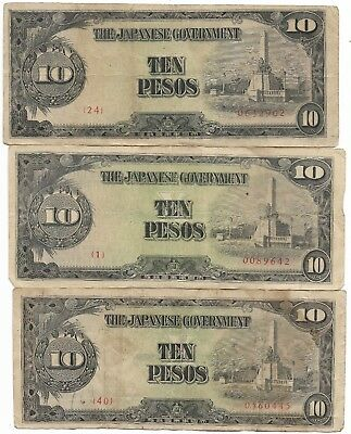 Rare Very Old Japanese WWII Japan War Dollar WW2 3 Note Currency Collection Lot
