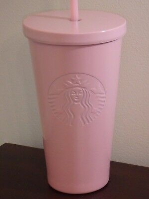 Starbucks 2017 Matte Pink 16 Oz Tumbler Cup W Straw Stainless Steel New Rare
