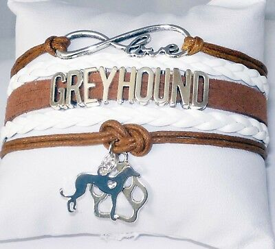 Brown and White Greyhound Love Infinity Wrap Bracelet