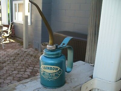 Vintage oil can EAGLE RAINBOW PUMP OILER 10 OZ CAPACITY