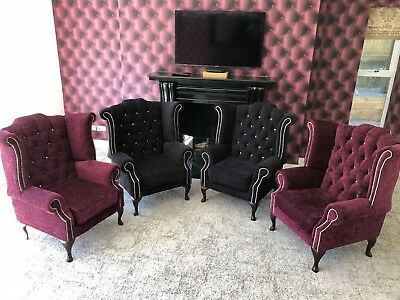 Chesterfield Fabric Armchairs With Chesterfield Black Leather Sofa