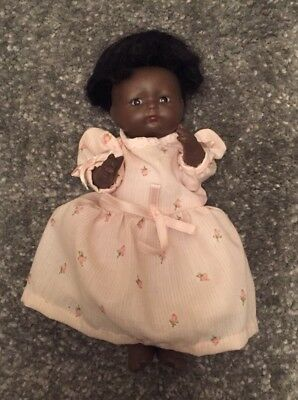 "Antique 1924 Bisque Head & Body Baby Doll 7"" Beautiful Black Vintage VERY RARE"