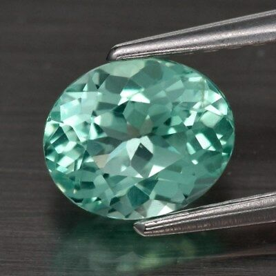 VS 0.97ct 6.5x5.4mm Oval Natural Unheated Paraiba-Color Neon Green Apatite