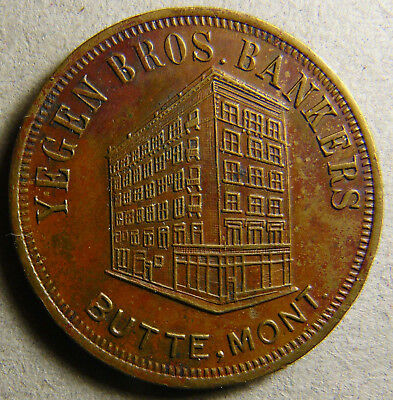 Montana Butte YEGEN BROS BANKERS 50c for New $5.00 Savings Acct Token Store Card