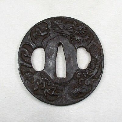 A901: Real old Japanese sword guard TSUBA of iron of very good work of dragon