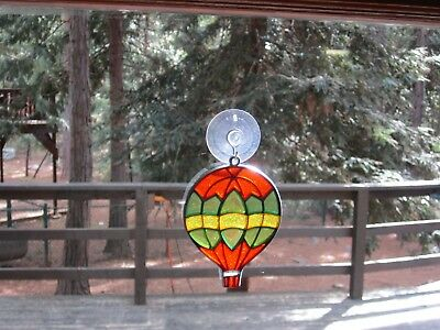 Beautiful Hot Air Balloon Stained  Glass Style Sun Catcher With Suction Cup