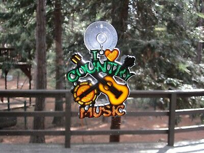 Beautiful I Love Country Music Stained Glass Style Sun Catcher With Suction Cup