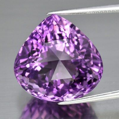 Clean! 25.64ct 19.2x19mm IF Pear Rouse-Cut Natural Purple Amethyst