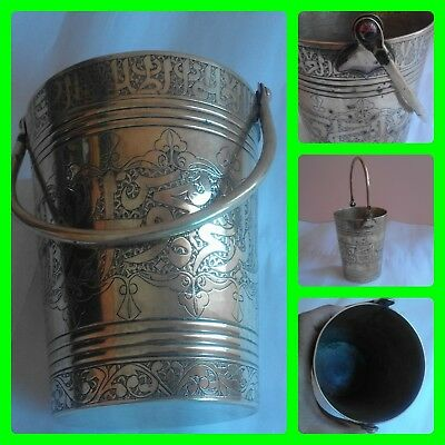 Vintage Islamic Engraved Brass Persian Qajar Bucket Vase Middle Eastern Cooper