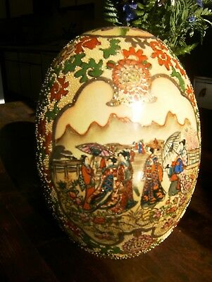 "Large Antique Satsuma Egg 10"" Tall Hand Painted Chinese Porcelain"
