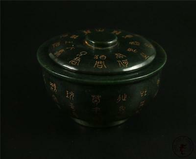 Fine Old Chinese Spinach Green Nephrite Jade Wine Cup Bowl Statue CALLIGRAPHY