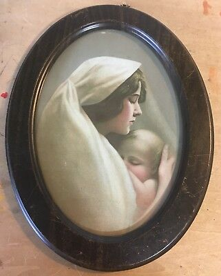 Vintage Oval Picture Mother And Child Original Metal Frame Antique Wall Art