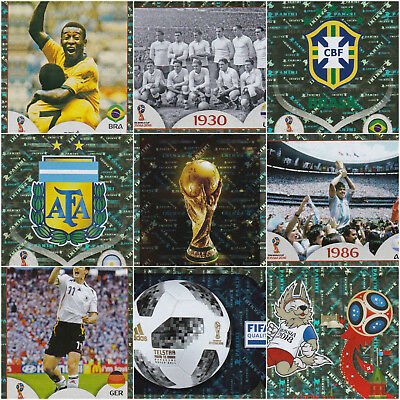 2018 Fifa World Cup Panini Foil Stickers - Emblems/Legends