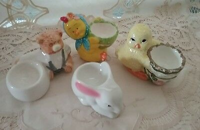 Vintage Ceramic Egg Cups Holders x Four - Free Postage