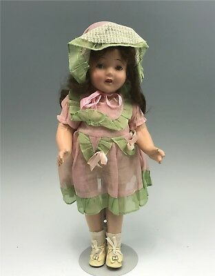 """Antique 17"""" Composition Doll With Cloth Body (Unmarked)"""