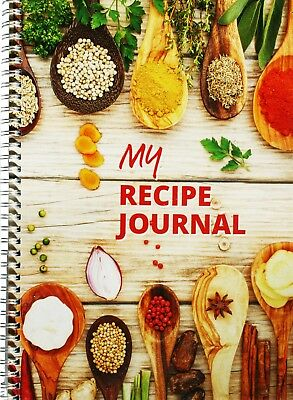 Recipe Journal A4 wirebound - 137 blank pages, charts, personalised cover