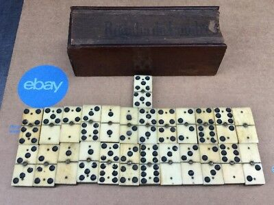 Antique French Old Domino Vintage Toy Game In Original wooden box (25)