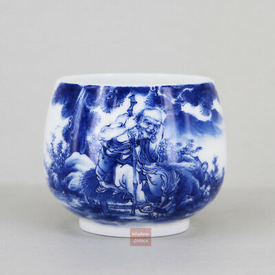 Hand painted Luohan Chinese Blue and White Porcelain Tea Cup Handmade 180cc B