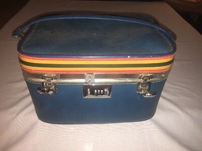 Vintage VENTURA Blue Vanity Travel Case