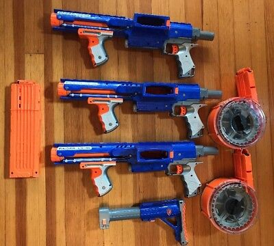 Lot Of 3 NERF N-Strike Raider CS-35 with 36 dart ammo 2 drum Clip One Stock