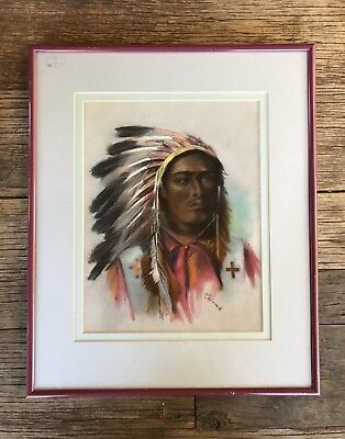 Framed Original Signed Pastel Drawing Native American Indian Chief