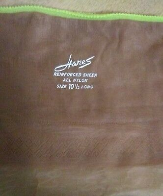 Vintage Hanes Reinforced Sheer 415,100%  Nylon Stockings, Size 10.5 Long