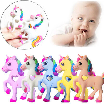 Creative Unicorn BPA-Free Silicone Baby Teethers Chew Beads Necklace Pendants