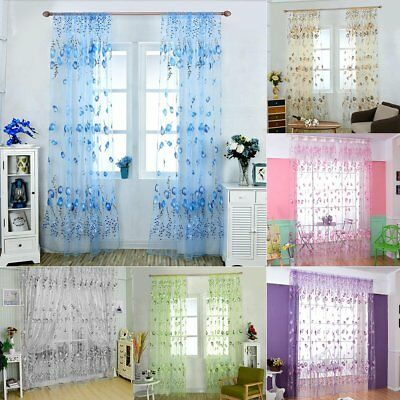 Tulip Floral Tulle Voile Door Window Curtain Drape Panel Sheer Scarf Valances UK