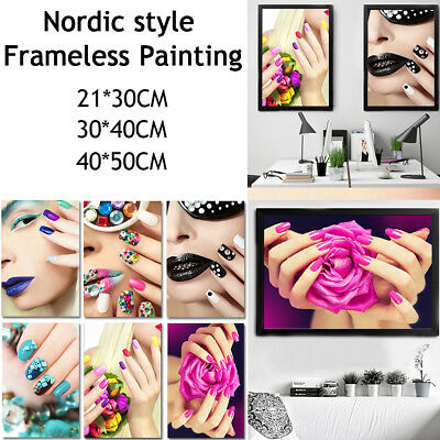 Nordic Beauty Nail Art Painting Frameless Pictures Wall Art Canvas Home Decor