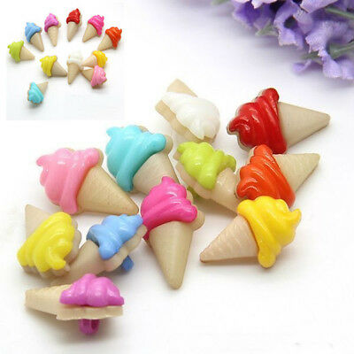Lot 100Pcs Mixed Colors Plastic Ice Cream Sewing Buttons Baby Kids Backhole DIY