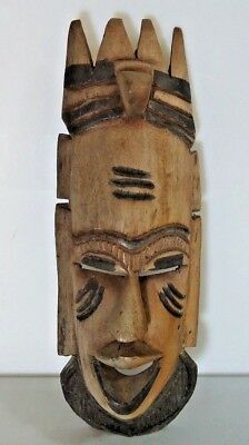 "Vintage Carved Ethnic Tribal African Hardwood Wooden Mask, 14"" Tall, 5"" Wide"