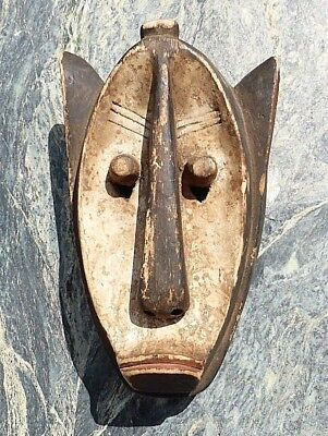 West African Tribal Art Carved Wooden Painted Mask Bambara Dogon Hyena Mask Nr