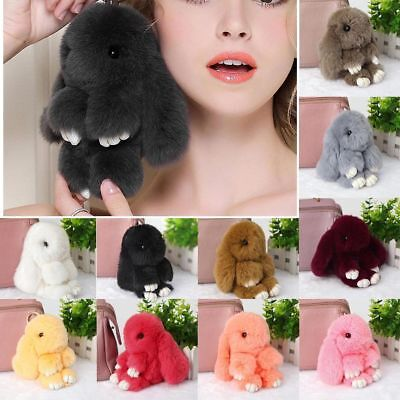 Rabbit Keychain Fluffy Bunny Keychain Faux Rabbit Fur Pompom Key Ring 13-15 cm