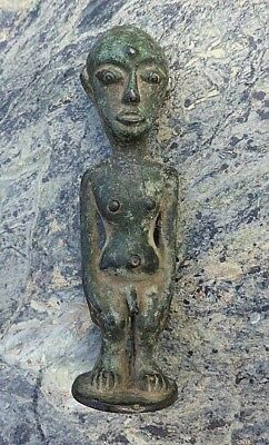 Unusual Small West? African Tribal Art Bronze Metal Figure Patina Phallic Nr!