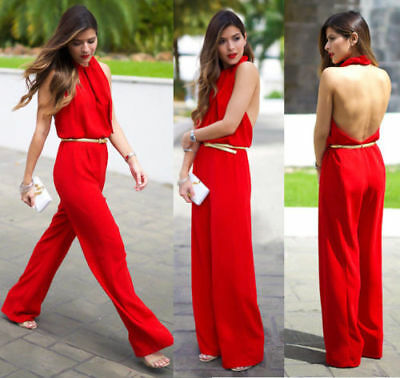575c7101ea26 I ZARA red FLOWING LOOSE JUMPSUIT OVERALL PLAYSUIT OPEN BACK - 36 SMALL S