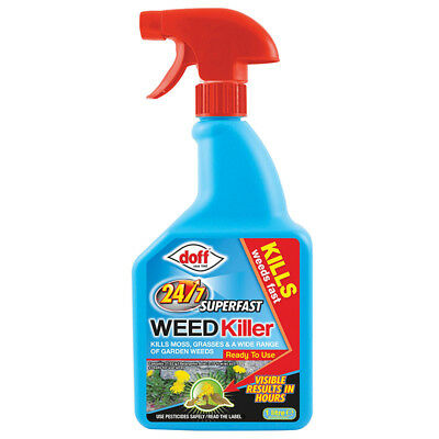 Doff SuperFast 24/7 WeedKiller 1L Ready to Use Spray Kills Moss Grasses Weeds