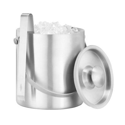 Large Double Walled Stainless Steel Insulated Ice Bucket With Tongs Lid 1.3L