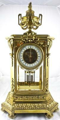 Spectacular Rare Huge 19thc French 4 Glass Crystal Regulator Mantle /Table Clock